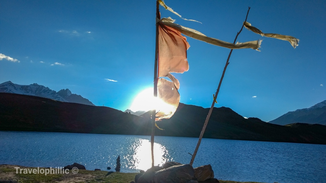 Prayer Flag fluttering in Chandra Taal Lake