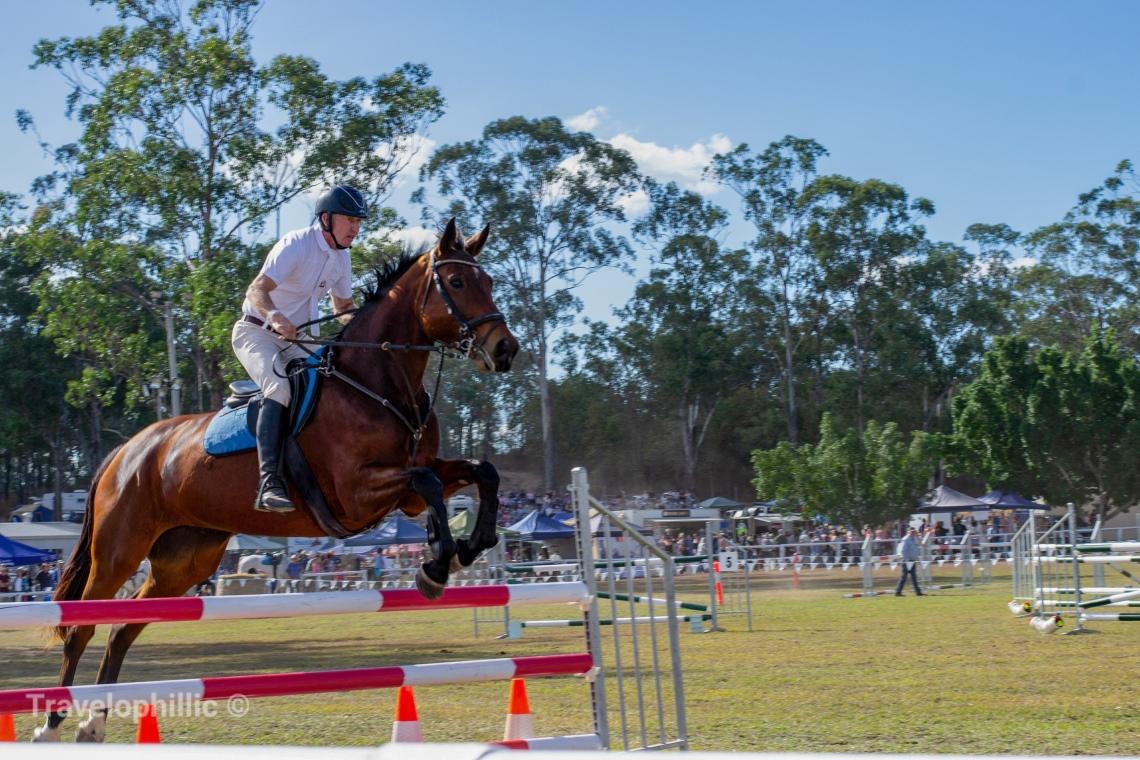 Horseman doing a vertical jump